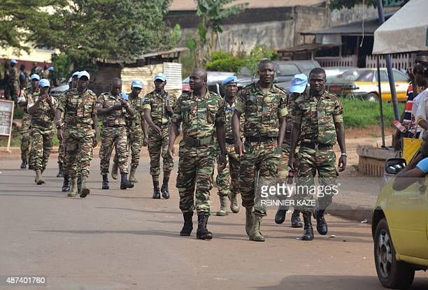 Cameroonian solider who served with the United Nations Multidimensional Integrated Stabilization Mission in the Central African Republic rally to...