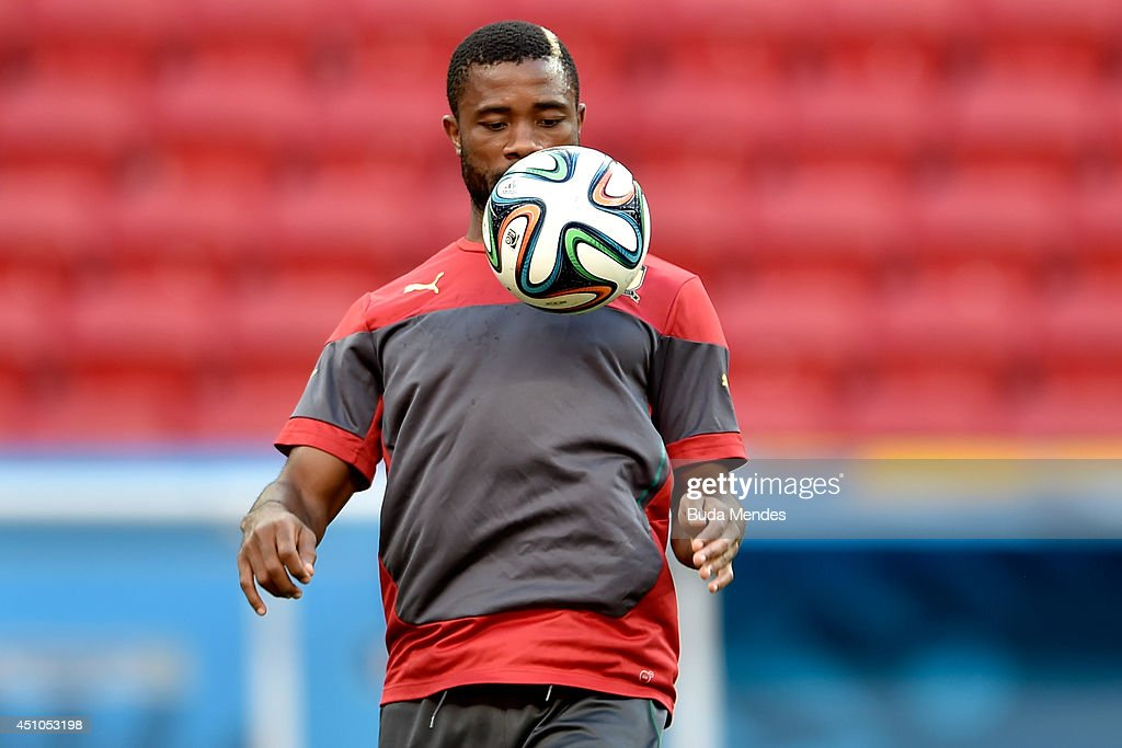 Cameroon's <a gi-track='captionPersonalityLinkClicked' href=/galleries/search?phrase=Aurelien+Chedjou&family=editorial&specificpeople=4520971 ng-click='$event.stopPropagation()'>Aurelien Chedjou</a> in action during a training session at Mane Garrincha Stadium on June 22, 2014 in Brasilia, Brazil.