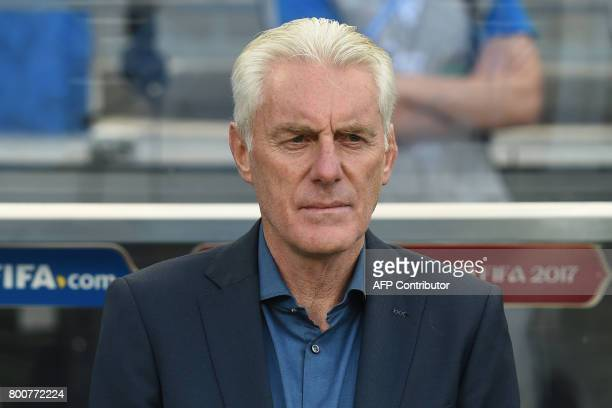 Cameroon's Belgian coach Hugo Broos attends the 2017 FIFA Confederations Cup group B football match between Germany and Cameroon at the Fisht Stadium...