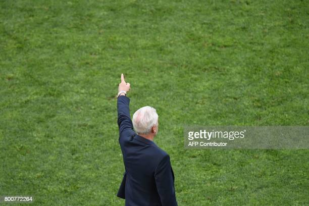 Cameroon's Belgian coach Hugo Broos reacts during the 2017 FIFA Confederations Cup group B football match between Germany and Cameroon at the Fisht...