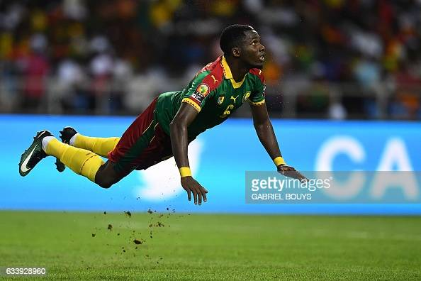 TOPSHOT Cameroon's defender Ambroise Oyongo reacts during the 2017 Africa Cup of Nations final football match between Egypt and Cameroon at the Stade...