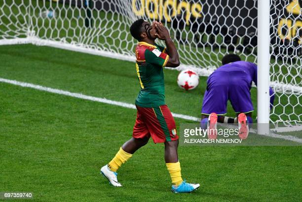 TOPSHOT Cameroon's defender Collins Fai reacts as Cameroon's goalkeeper Joseph Ondoa concedes a goal during the 2017 Confederations Cup group B...