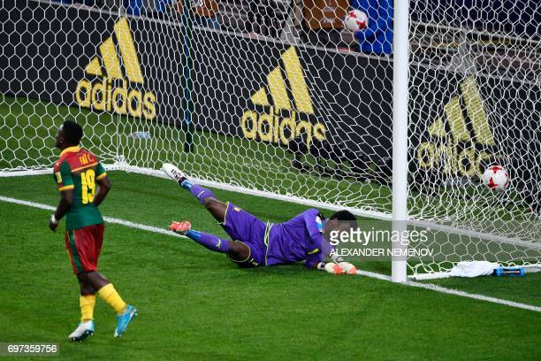 Cameroon's defender Collins Fai reacts as Cameroon's goalkeeper Joseph Ondoa concedes a goal during the 2017 Confederations Cup group B football...
