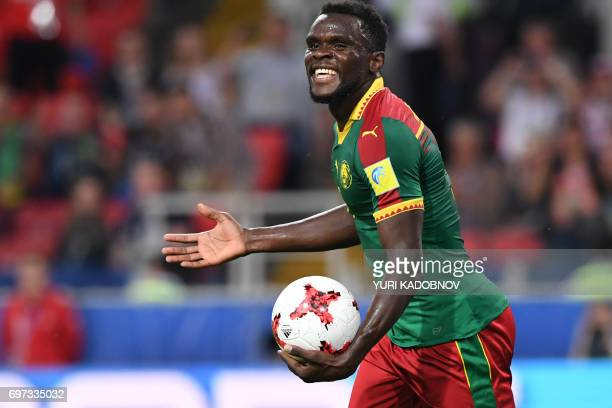 TOPSHOT Cameroon's defender Michael NgadeuNgadjui reacts during the 2017 Confederations Cup group B football match between Cameroon and Chile at the...