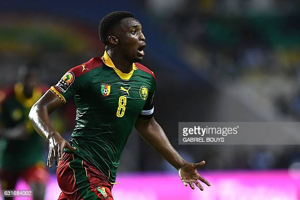 Cameroon's forward Benjamin Moukandjo celebrates after scoring a goal during the 2017 Africa Cup of Nations group A football match between Burkina...