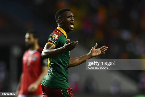 Cameroon's forward Benjamin Moukandjo reacts following a team goal during the 2017 Africa Cup of Nations final football match between Egypt and...