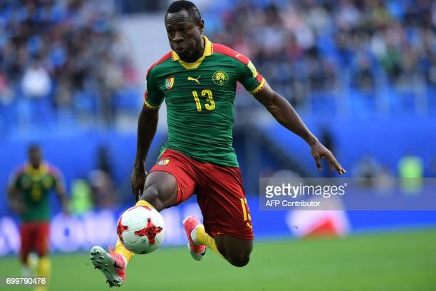 TOPSHOT Cameroon's forward Christian Bassogog plays the ball during the 2017 Confederations Cup group B football match between Cameroon and Australia...