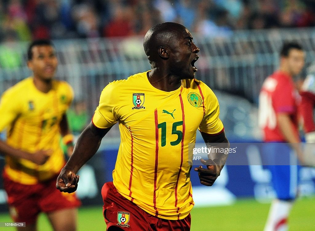 Cameroon's forward Pierre Webo (C) celebrates his goal against Serbia during their friendly at Partizan stadium in Belgrade on June 5, 2010 ahead of the FIFA 2010 World Cup in South Africa.