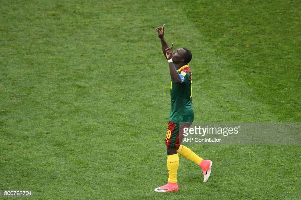 Cameroon's forward Vincent Aboubakar celebrates after scoring a goal during the 2017 FIFA Confederations Cup group B football match between Germany...