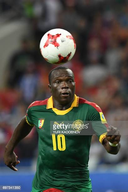 TOPSHOT Cameroon's forward Vincent Aboubakar controls the ball during the 2017 Confederations Cup group B football match between Cameroon and Chile...