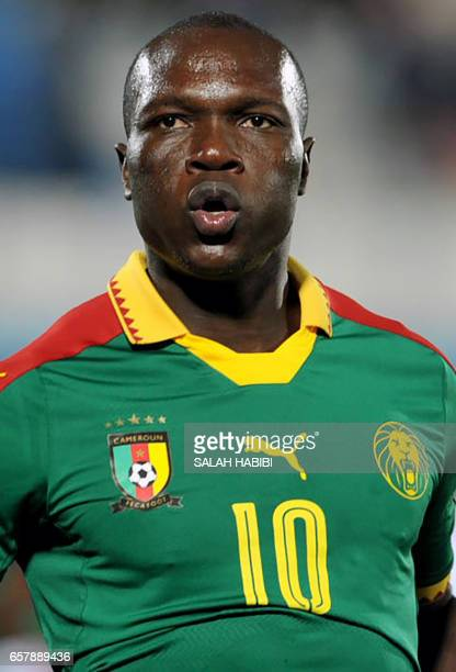 Cameroon's forward Vincent Aboubakar looks on during a friendly football match between Tunisia and Cameroon on March 24 2017 at the Ben Jannet...