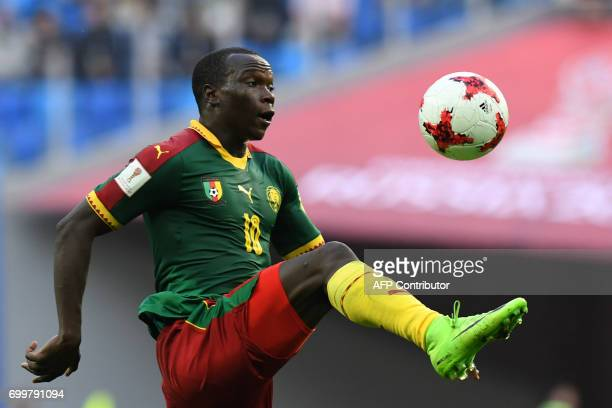 Cameroon's forward Vincent Aboubakar plays the ball during the 2017 Confederations Cup group B football match between Cameroon and Australia at the...