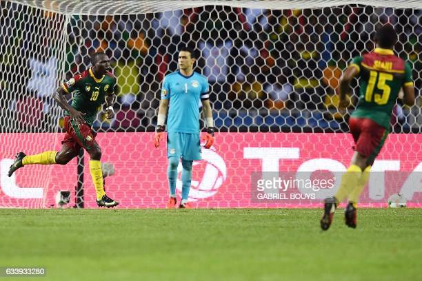Cameroon's forward Vincent Aboubakar reacts after scoring the team's second goal during the 2017 Africa Cup of Nations final football match between...