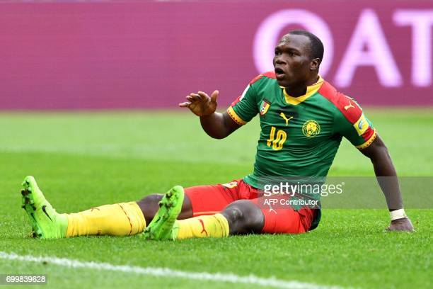 Cameroon's forward Vincent Aboubakar reacts during the 2017 Confederations Cup group B football match between Cameroon and Australia at the Saint...