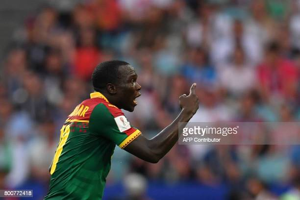Cameroon's forward Vincent Aboubakar reacts during the 2017 FIFA Confederations Cup group B football match between Germany and Cameroon at the Fisht...