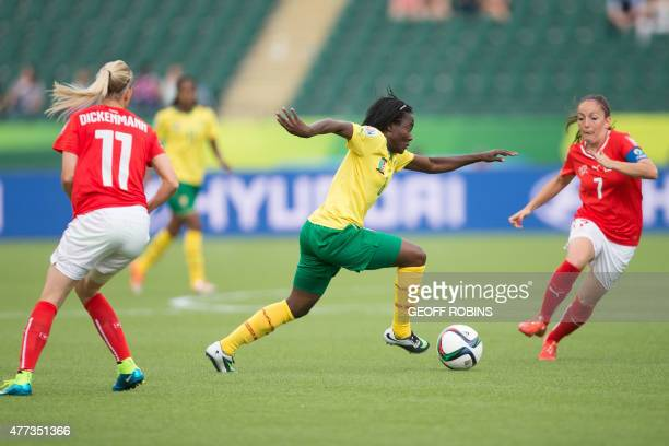 Cameroon's Francine Zouga controls the ball during the first half of their FIFA Women's World Cup group C match against Switzerland at Commonwealth...