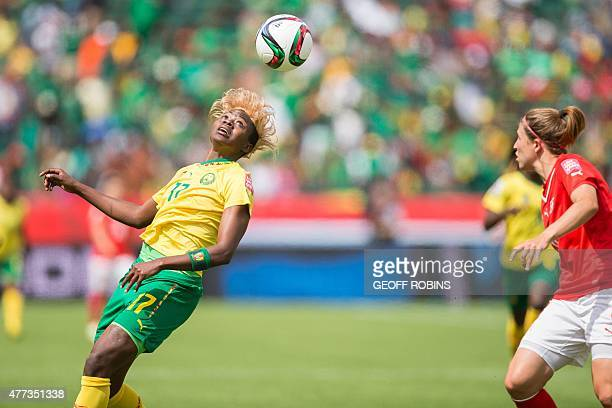 Cameroon's Gaelle Enganamouit heads the ball during the first half of their FIFA Women's World Cup group C match against Switzerland at Commonwealth...