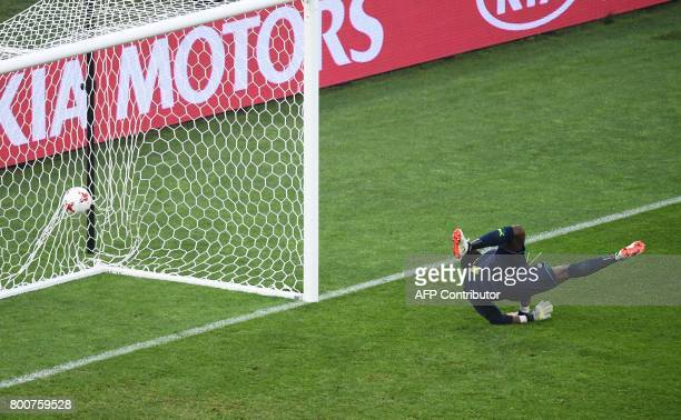 Cameroon's goalkeeper Joseph Ondoa concedes a goal during the 2017 FIFA Confederations Cup group B football match between Germany and Cameroon at the...