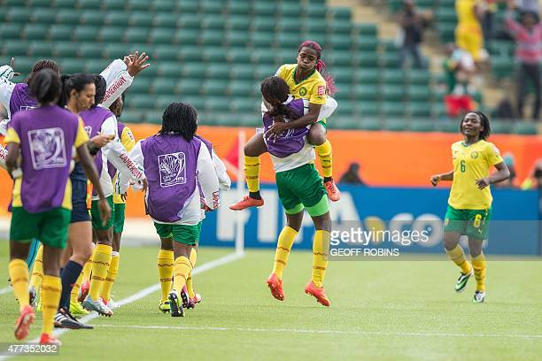 Cameroon's Madeleine Ngono Mani celebrates her goahead goal in the second half of their FIFA Women's World Cup group C match against Switzerland at...