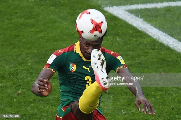 TOPSHOT Cameroon's midfielder Andre Zambo kicks the ball during the 2017 FIFA Confederations Cup group B football match between Germany and Cameroon...