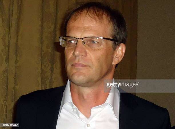 Cameroon's national football team 'Lions indomptables du Cameroun' French coach Denis Lavagne attends a press conference on October 28 2011 in...
