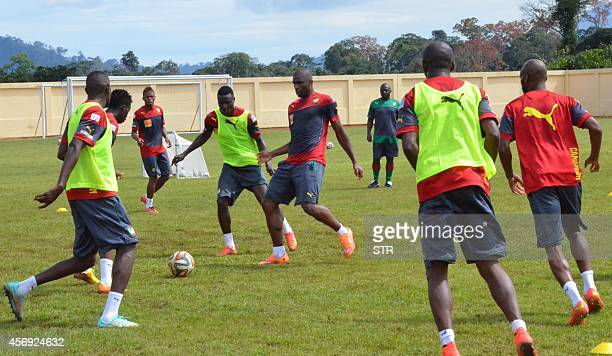 Cameroon's national football team players attend a traning session on October 9 2014 in Yaounde ahead of the 2015 African Cup of Nations qualifying...