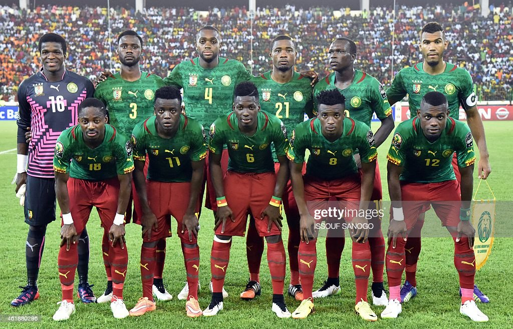 Cameroon's squad (top L-R) goalkeeper Fabrice Ondoa, defender Nicolas Nkoulou, midfielder Raoul Cedric Loe, defender Aurelien Chedjou, forward Vincent Aboubakar, forward Eric Choupo Moting, (bottom L-R) midfielder Eyong Enoh, midfielder Edgar Salli, defender Ambroise Oyongo, forward Benjamin Moukandjo and defender Henri Bedimo pose for a group picture ahead of the 2015 African Cup of Nations group D football match between Mali and Cameroon in Malabo on January 20, 2015.