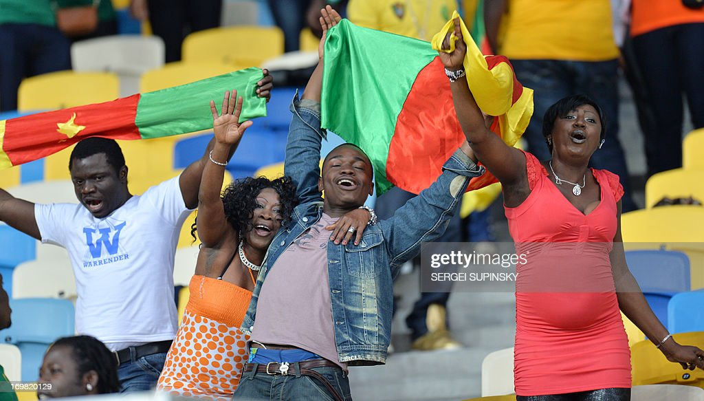 Cameroon's supporters reacts during the friendly football match against Ukraine in Kiev on June 2, 2013.