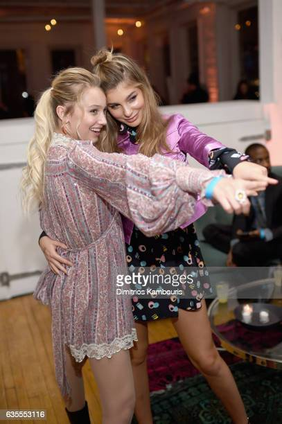 Cami Morrone and Cailin Russo attend Marc Jacobs Beauty Celebrates Kaia Gerber on February 15 2017 in New York City