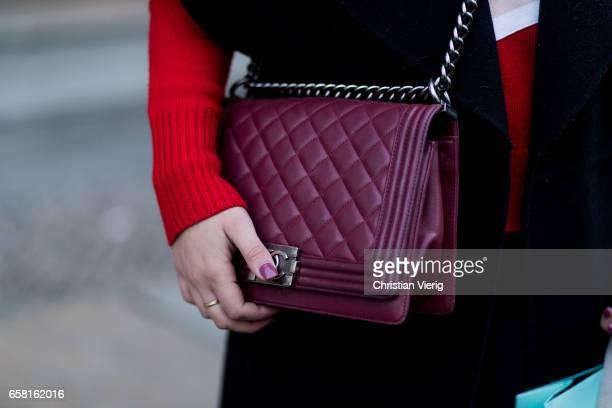 Camila Alvarez wearing a bordeaux Chanel bag on March 26 2017 in Berlin Germany
