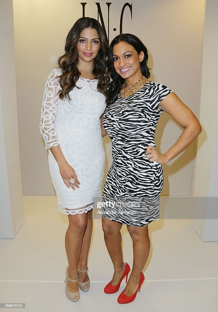 <a gi-track='captionPersonalityLinkClicked' href=/galleries/search?phrase=Camila+Alves&family=editorial&specificpeople=4501431 ng-click='$event.stopPropagation()'>Camila Alves</a> and Beauty Editor for Cosmo Latina Milly Almodovar make an appearance at Macys Aventura on March 16, 2013 in Miami, Florida.