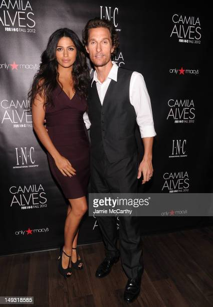 Camila Alves and Matthew McConaughey attend INC International Concepts Unveils Camila Alves As Brand Ambassador on July 26 2012 in New York City