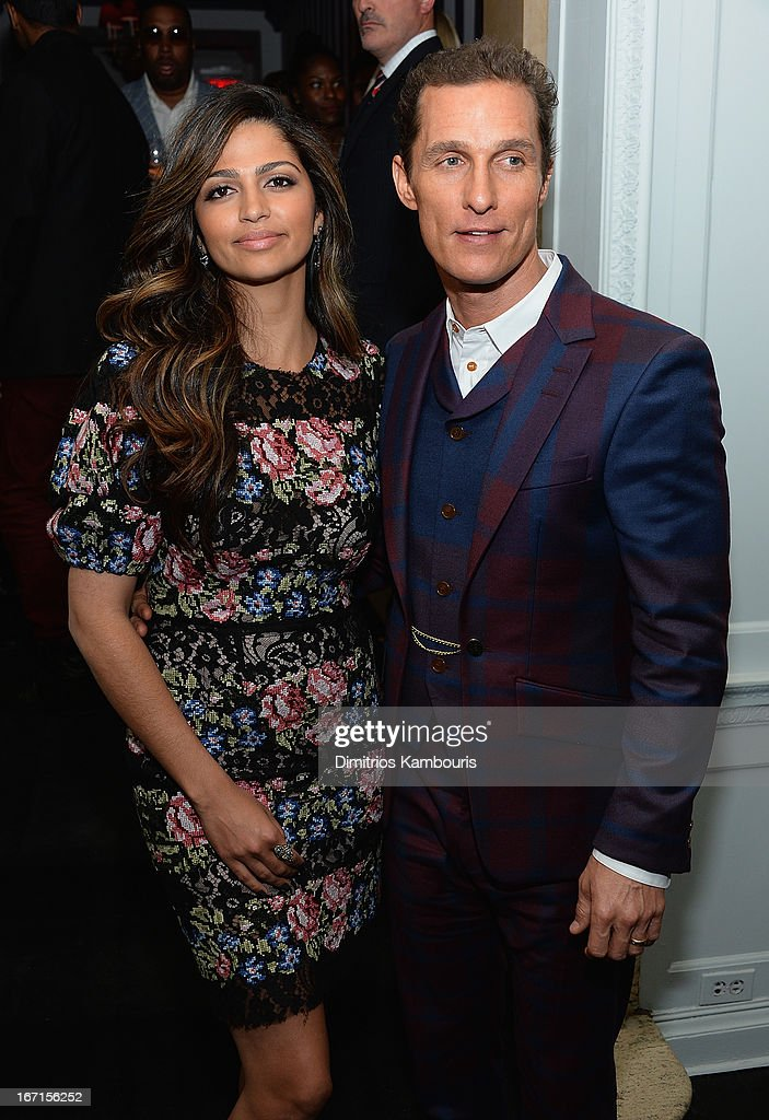 <a gi-track='captionPersonalityLinkClicked' href=/galleries/search?phrase=Camila+Alves&family=editorial&specificpeople=4501431 ng-click='$event.stopPropagation()'>Camila Alves</a> and <a gi-track='captionPersonalityLinkClicked' href=/galleries/search?phrase=Matthew+McConaughey&family=editorial&specificpeople=201663 ng-click='$event.stopPropagation()'>Matthew McConaughey</a> attend the after party for The Cinema Society with FIJI Water & Levi's screening of 'Mud' at Harlow on April 21, 2013 in New York City.