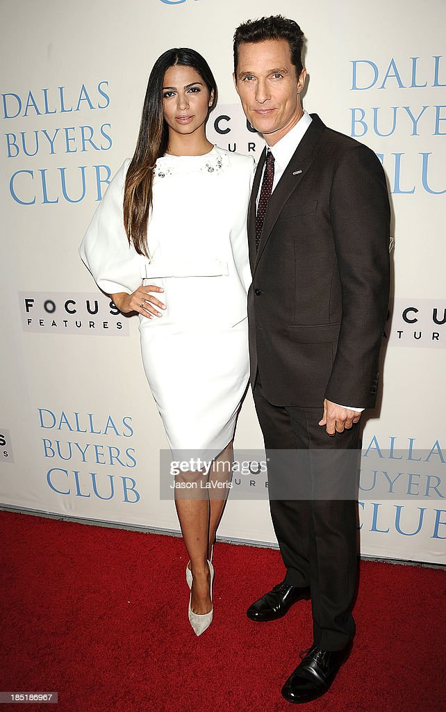 Camila Alves and Matthew McConaughey attend the premiere of 'Dallas Buyers Club' at the Academy of Motion Picture Arts and Sciences on October 17, 2013 in Beverly Hills, California.