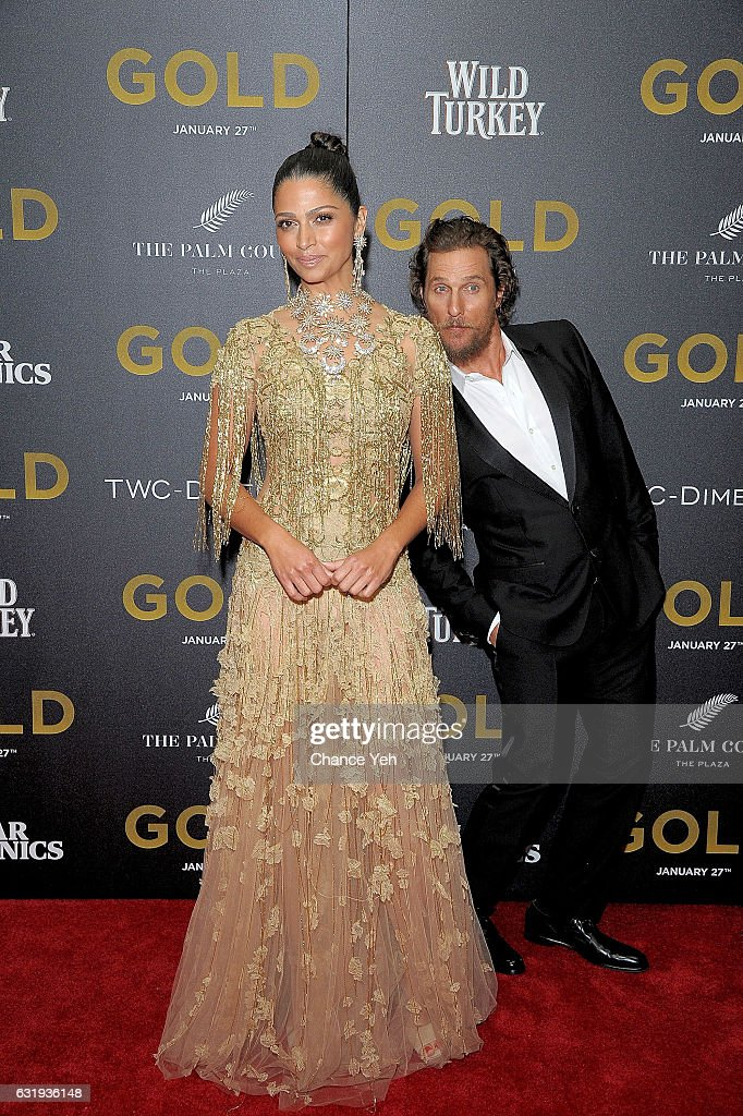 Camila Alves and Matthew McConaughey attend the world premiere of 'Gold' hosted by TWC-Dimension at AMC Loews Lincoln Square 13 theater on January 17, 2017 in New York City.