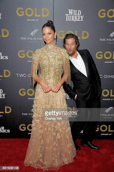 Camila Alves and Matthew McConaughey attend the world premiere of 'Gold' hosted by TWCDimension at AMC Loews Lincoln Square 13 theater on January 17...