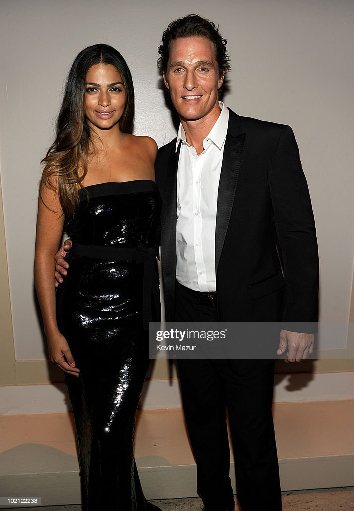 Camila Alves and Matthew McConaughey backstage at Samsung's 9th Annual Four Seasons of Hope Gala at Cipriani Wall Street on June 15, 2010 in New York City.