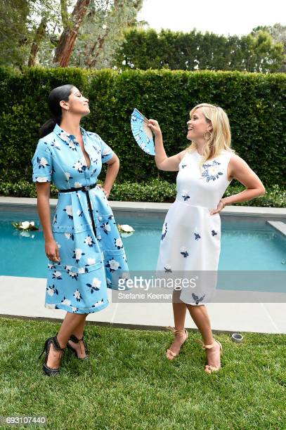 Camila Alves and Reese Witherspoon attend NETAPORTER x Draper James Event on June 6 2017 in Beverly Hills California