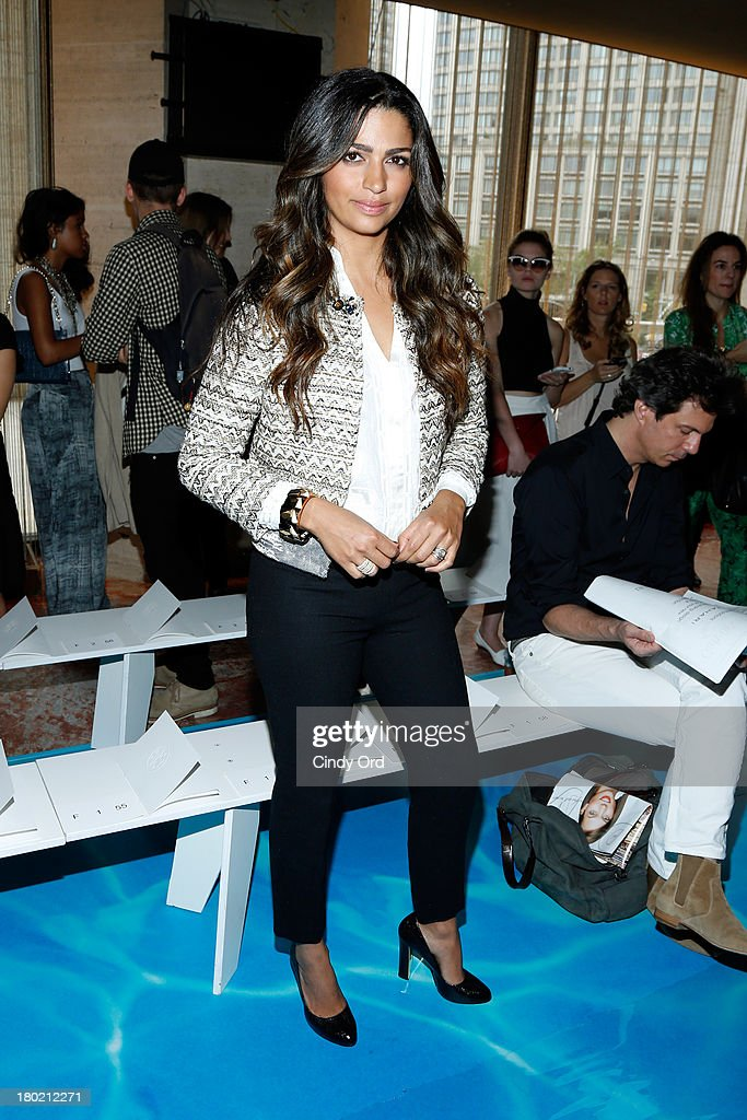 <a gi-track='captionPersonalityLinkClicked' href=/galleries/search?phrase=Camila+Alves&family=editorial&specificpeople=4501431 ng-click='$event.stopPropagation()'>Camila Alves</a> attends the Tory Burch fashion show during Mercedes-Benz Fashion Week Spring at David H. Koch Theater at Lincoln Center on September 10, 2013 in New York City.