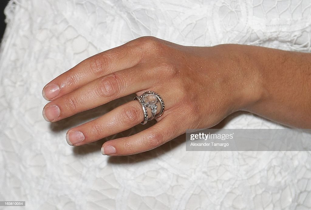 Camila Alves (ring detail) makes an appearance at Macys Aventura on March 16, 2013 in Miami, Florida.