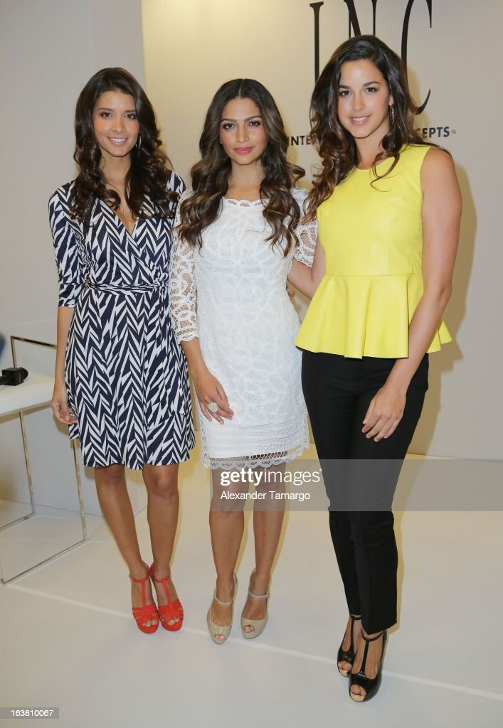 <a gi-track='captionPersonalityLinkClicked' href=/galleries/search?phrase=Camila+Alves&family=editorial&specificpeople=4501431 ng-click='$event.stopPropagation()'>Camila Alves</a> (C) makes an appearance at Macys Aventura on March 16, 2013 in Miami, Florida.