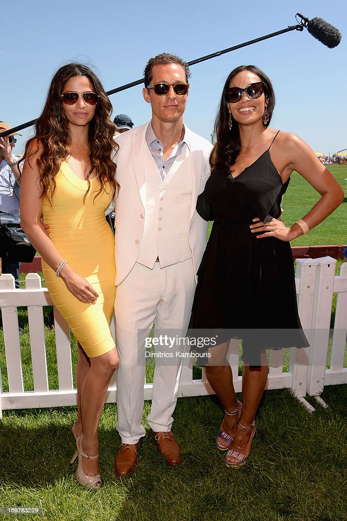 Camila Alves, Matthew McConaughey and Rosario Dawson attend the VIP Marquee during the sixth annual Veuve Clicquot Polo Classic on June 1, 2013 in Jersey City.