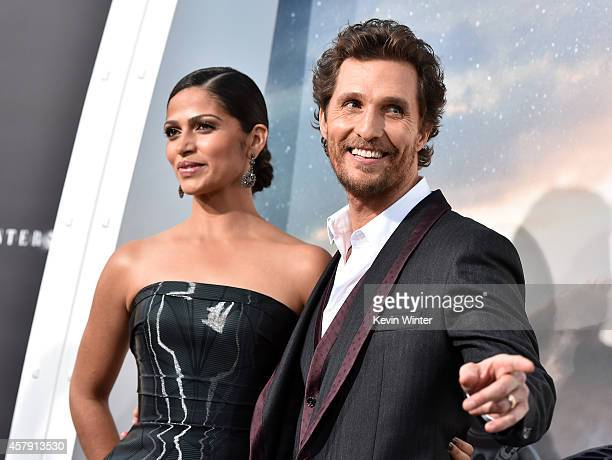 Camila Alves McConaughey and actor Matthew McConaughey attends the premiere of Paramount Pictures' 'Interstellar' at TCL Chinese Theatre IMAX on...