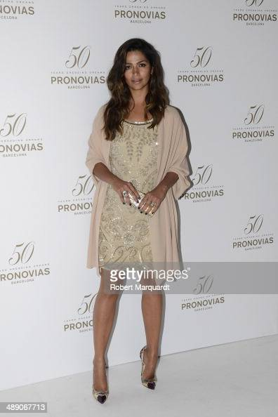 Camila Alves poses during a photocall for the Pronovia's 50th anniversary bridal fashion show during 'Barcelona Bridal Week 2014' on May 9 2014 in...