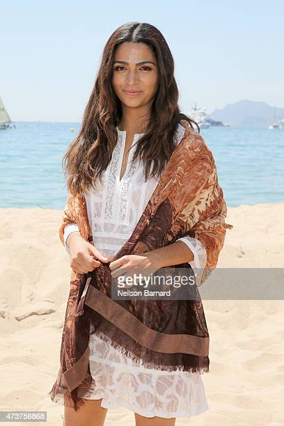 Camila Alves wearing the BCBGMAXAZRIA for MAGNUM Belgian Chocolate Wrap an accessory infused with the aroma of chocolate on May 17 2015 in Cannes...