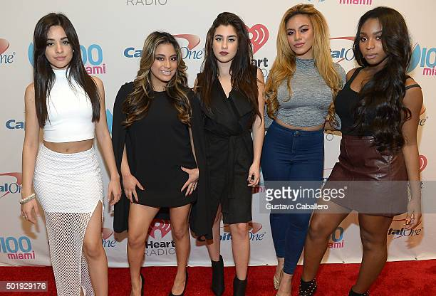 Camila Cabello Ally Brooke Hernandez Lauren Jauregui Dinah Jane Hansen and Normani Kordei of Fifth Harmony pose backstage at Y100's Jingle Ball 2015...