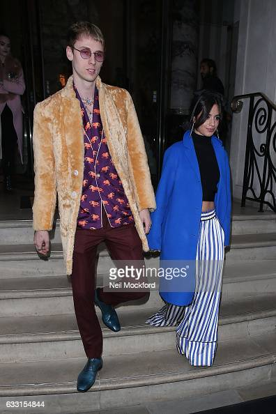 Camila Cabello and Machine Gun Kelly seen leaving The Langham hotel on January 31 2017 in London England