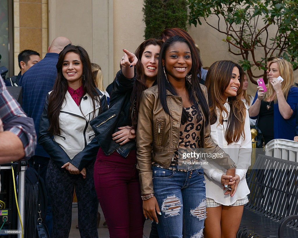 Camila Cabello, Lauren Jauregui, Normani Hamilton and Ally Brooke of Fifth Harmony visit 'Extra' at The Grove on November 26, 2012 in Los Angeles, California.