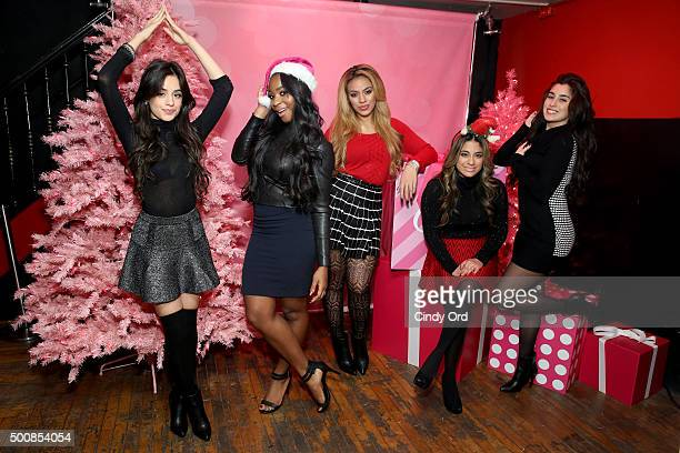 Camila Cabello Normani Kordei Dinah Jane Ally Brooke Hernandez and Lauren Jauregui of Fifth Harmony pose at The Candie's Winter Bash on December 10...