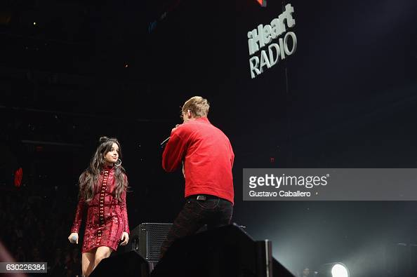 Camila Cabello of Fifth Harmony and Machine Gun Kelly perform at the Y100's Jingle Ball 2016 at BBT Center on December 18 2016 in Sunrise Florida